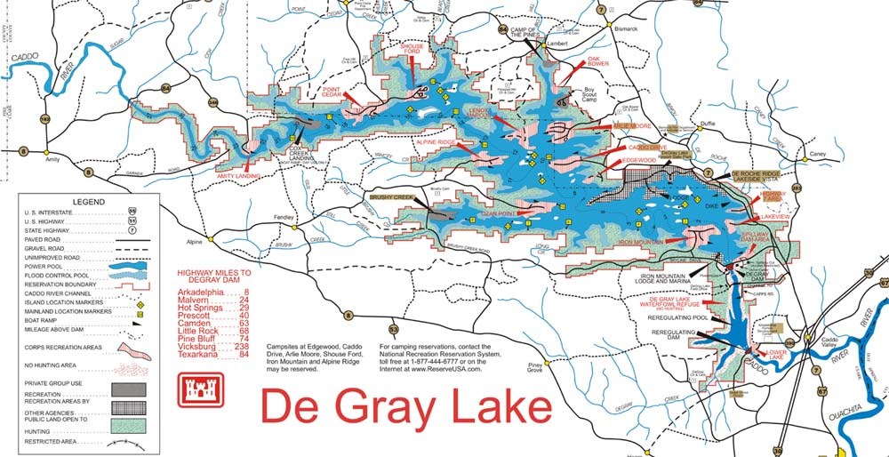 DeGray Lake Map With Campsite Areas US Corps Of Engineers - Us corps of engineers maps