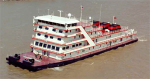 The Motor Vessel Mississippi,the Corps of Engineers most powerful towboat, hosts public meetings each year to listen to public concerns about the Mississippi River.