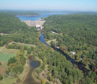 Aerial photo of Greeson Dam
